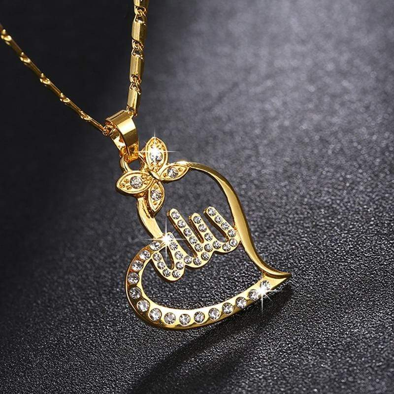 New Allah Gold colour Pendant Necklace for women IS1 Almas Collections  New Allah Gold colour Pendant Necklace for women
