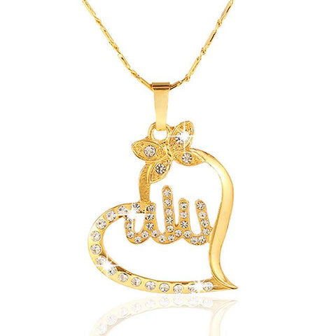 Image of New Allah Gold colour Pendant Necklace for women IS1 Almas Collections  New Allah Gold colour Pendant Necklace for women