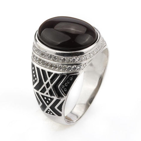Image of New 925 Sterling Silver with Dark Brown Agate Stone with Clear CZ Men Ring NS3 IS2 IS1 VAL1 Almas Collections