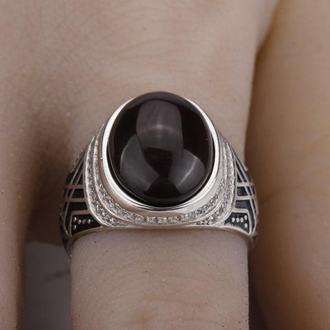 New 925 Sterling Silver with Dark Brown Agate Stone with Clear CZ Men Ring NS3 IS2 IS1 VAL1 Almas Collections