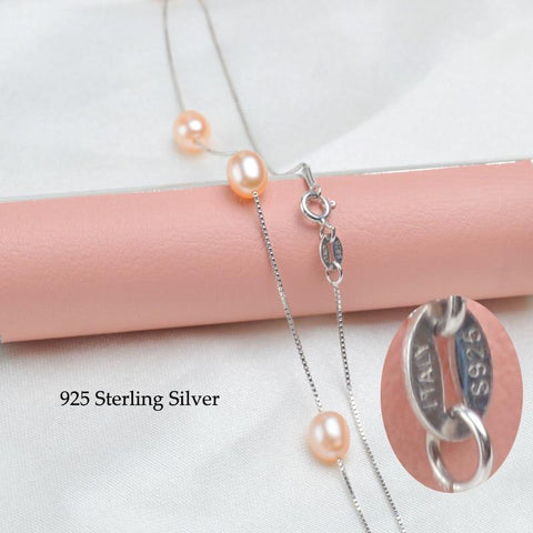 New 925 Sterling Silver Necklace with Natural Freshwater Pearls from Almas Collections