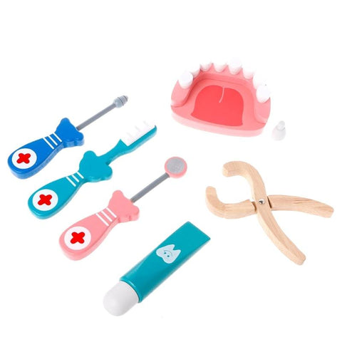New Wooden 6 pcs dental kit with teeth KS1 | Almas Collections |