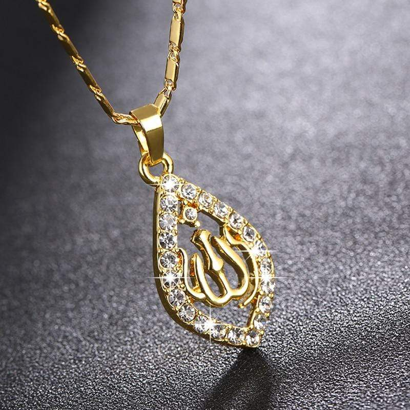 New Gold/Silver/Rose gold Colors Allah Necklace IS1 Almas Collections  New Gold/Silver/Rose gold Colors Allah Necklace