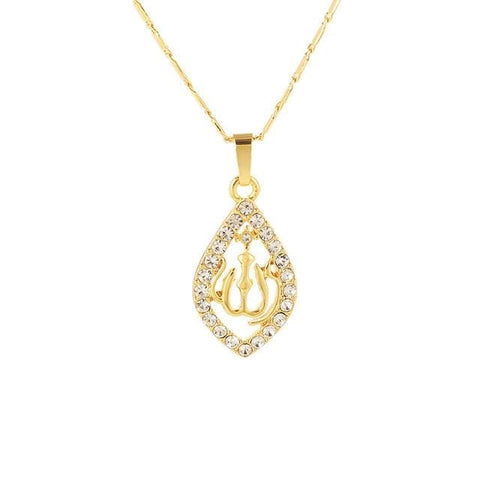 Image of New Gold/Silver/Rose gold Colors Allah Necklace IS1 | Almas Collections |