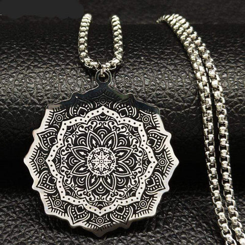 Image of New Lotus Wicca Stainless Steel Necklace for Men Silver Color NS2 IS1 IS2 | Almas Collections |