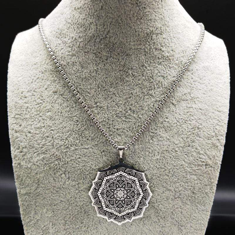 New Lotus Wicca Stainless Steel Necklace for Men Silver Color NS2 IS1 IS2 Almas Collections  New Lotus Wicca Stainless Steel Necklace for Men Silver Colo