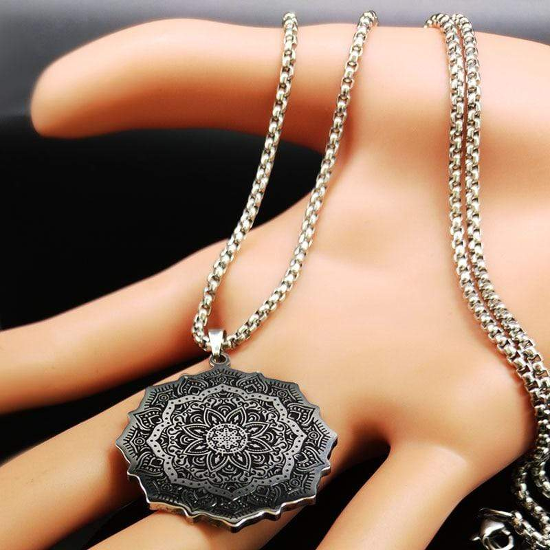 New Lotus Wicca Stainless Steel Necklace for Men Silver Color NS2 IS1 IS2 | Almas Collections |