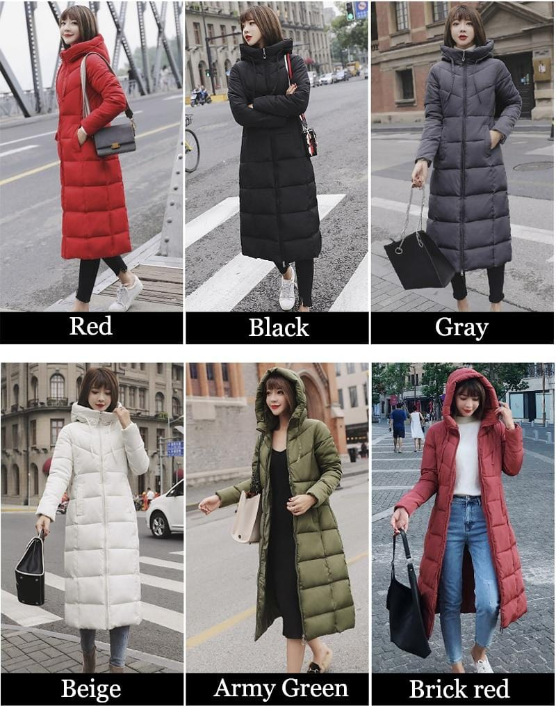 New Winter Hood Stand Collar Long Parka Coat AW1 - Almas Collections