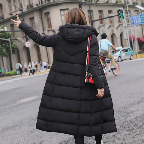 Image of New Winter Hood Stand Collar Long Parka Coat AW1 - Almas Collections