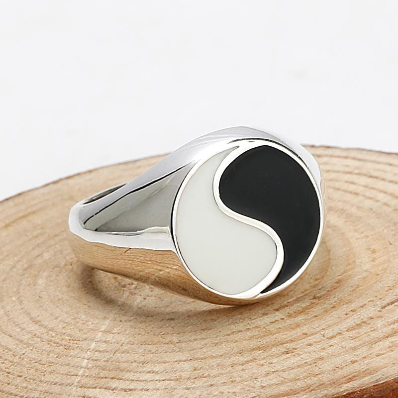 Tai chi Yin Yang Real 925 Sterling silver Ring for Men & Women by Almas Collections Almas Collections  Tai chi Yin Yang Real 925 Sterling silver Ring for Men & Women by Almas Collections