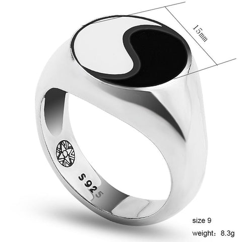 Image of Tai chi Yin Yang Real 925 Sterling silver Ring for Men & Women by Almas Collections Almas Collections  Tai chi Yin Yang Real 925 Sterling silver Ring for Men & Women by Almas Collections