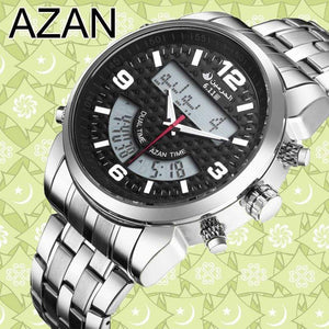 New Almas Collections Stainless Steel Dual Time Azan Watch  AW2 IS2 Almas Collections  New Stainless Steel Dual Time Azan Watch