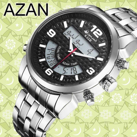 New Almas Collections Stainless Steel Dual Time Azan Watch  AW2 IS2 | Almas Collections |
