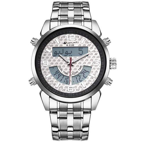 Image of New Almas Collections Stainless Steel Dual Time Azan Watch  AW2 IS2 Almas Collections  New Stainless Steel Dual Time Azan Watch