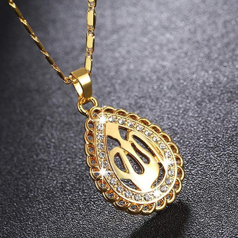 Image of New Allah Gold-color Rhinestone Pendant Necklace for Women NS2 IS1 IS2 Almas Collections  men women, men, islamic sets, islamic rings, islamic necklaces, islamic jewelry sets, islamic jewelry, Islamic jewellery, islamic bracelets, gift, eid present for 2019, eid present, eid gifts for 2019, eid gifts, crystal, colours, Almas Collections, alloy