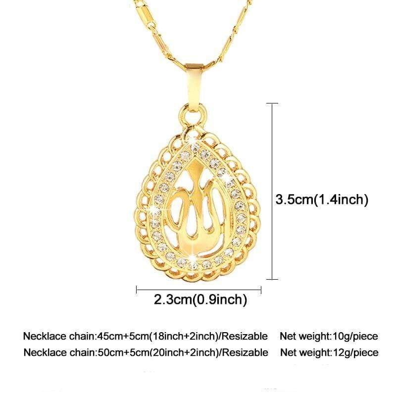 New Allah Gold-color Rhinestone Pendant Necklace for Women NS2 IS1 IS2 Almas Collections  men women, men, islamic sets, islamic rings, islamic necklaces, islamic jewelry sets, islamic jewelry, Islamic jewellery, islamic bracelets, gift, eid present for 2019, eid present, eid gifts for 2019, eid gifts, crystal, colours, Almas Collections, alloy