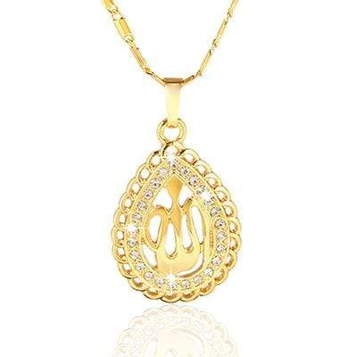 Image of New Allah Gold-color Rhinestone Pendant Necklace for Women NS2 IS1 IS2 | Almas Collections |