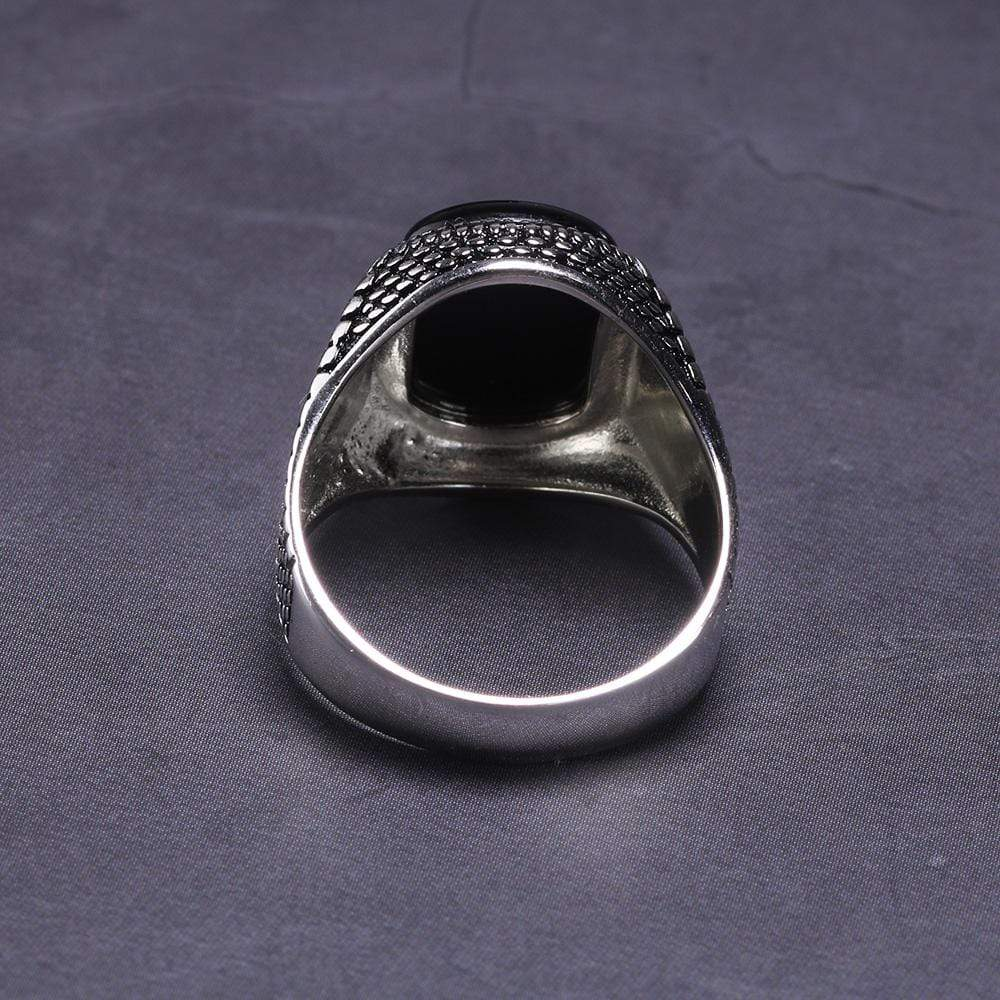 New Vintage Turkey Real 925 Sterling Silver Natural Onyx Stone Ring IS1 IS2 NS2 Almas Collections  New Vintage Turkey Real 925 Sterling Silver Natural Onyx Stone Ring