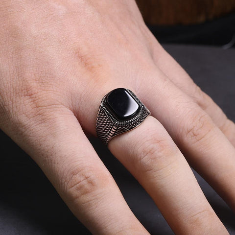 Image of New Vintage Turkey Real 925 Sterling Silver Natural Onyx Stone Ring IS1 IS2 NS2 Almas Collections  New Vintage Turkey Real 925 Sterling Silver Natural Onyx Stone Ring