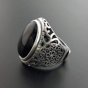 925 Sterling Silver Black Onyx Ring Men from Almas Collections