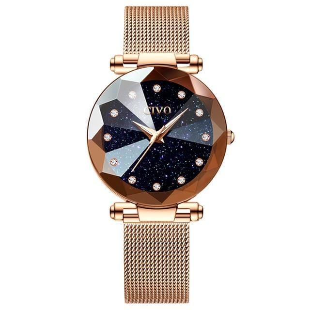 New Luxury Crystal Rose Gold and Purple Steel Mesh Quartz Women Watches AW2 Almas Collections  women watches
