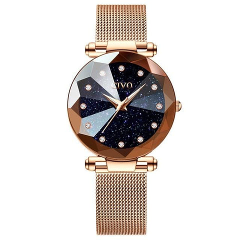 Image of New Luxury Crystal Rose Gold and Purple Steel Mesh Quartz Women Watches AW2 Almas Collections  women watches