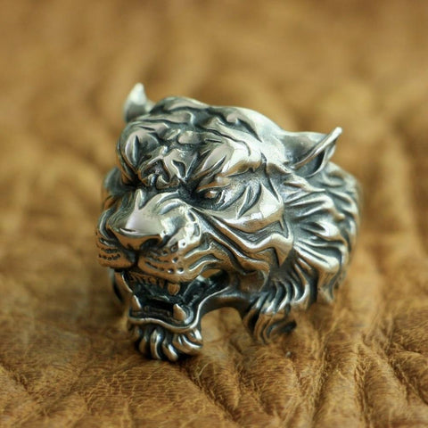 Image of New Tiger 925 Sterling Silver Ring angle view from Almas Collections