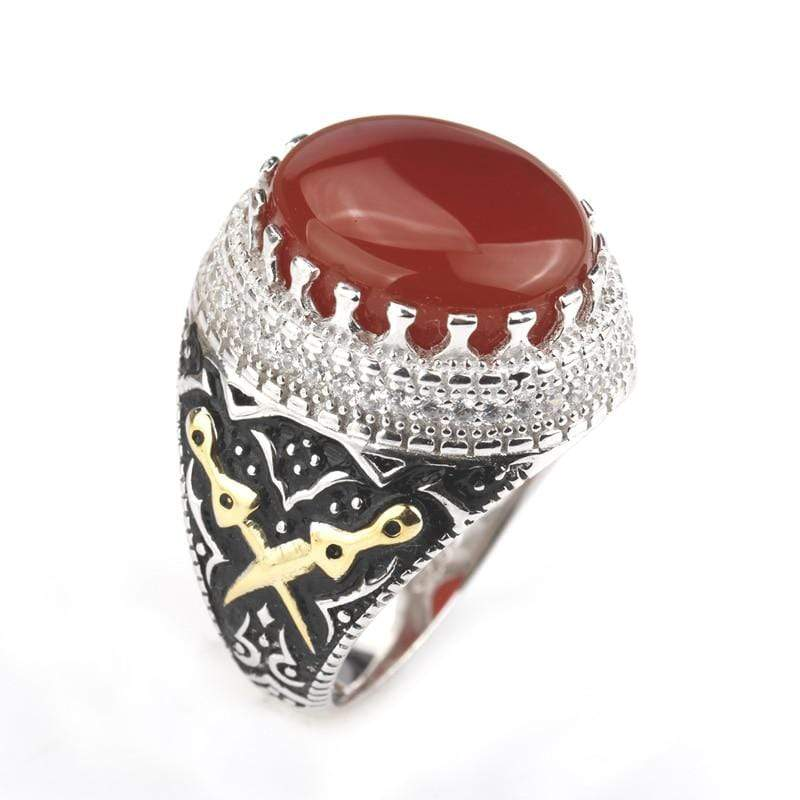New Real 925 Sterling Silver Red Stone with Double Sword Men Ring IS1 NS3 Almas Collections  Real 925 Sterling Silver Red Stone with Double Sword Men Ring