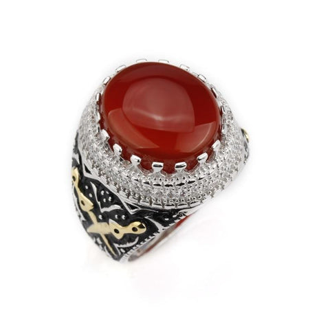 Image of New Real 925 Sterling Silver Red Stone with Double Sword Men Ring IS1 NS3 Almas Collections  Real 925 Sterling Silver Red Stone with Double Sword Men Ring