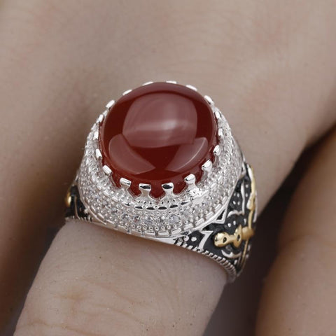 Real 925 Sterling Silver Red Stone with Double Sword Men Ring from Almas Collections