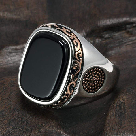Image of New Real Silver S925 Retro Vintage Natural Black Onyx Stone Turkish Ring from Almas Collections