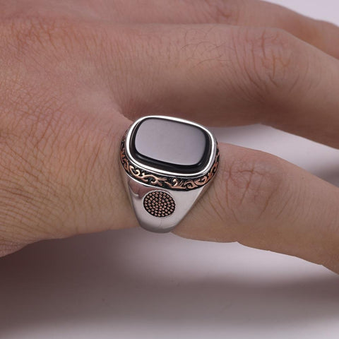 Image of New Real Silver S925 Retro Vintage Natural Black Onyx Stone Turkish Ring on model from Almas Collections