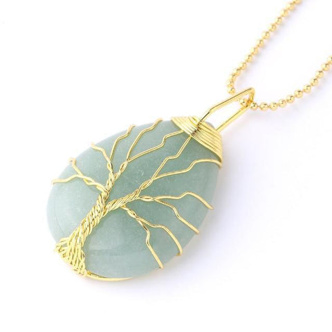 New Natural Gem Stone Tree of Life Water Drop Necklace Pendant IS1 IS2 NS2 VAL1 Almas Collections  New Natural Gem Stone Tree of Life Water Drop Necklace Pendant