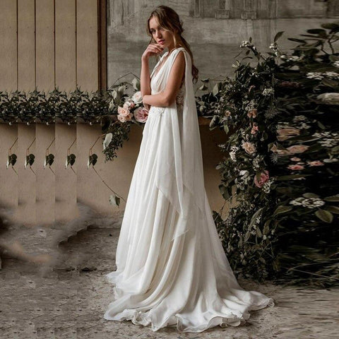 New Arab Beach Style Wedding Dress 2020 side view from Almas Collections