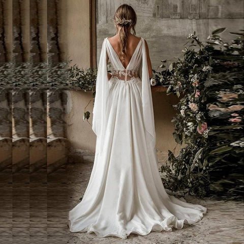 New Arab Beach Style Wedding Dress 2020 back view from Almas Collections