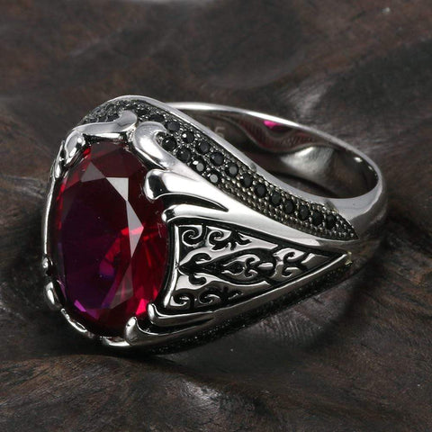 New 925 Silver Vintage Turkish Ring For Men & Women in Red Wine color from Almas Collections