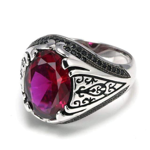 New 925 Silver Vintage Turkish Ring in Red Rose color For Men & Women