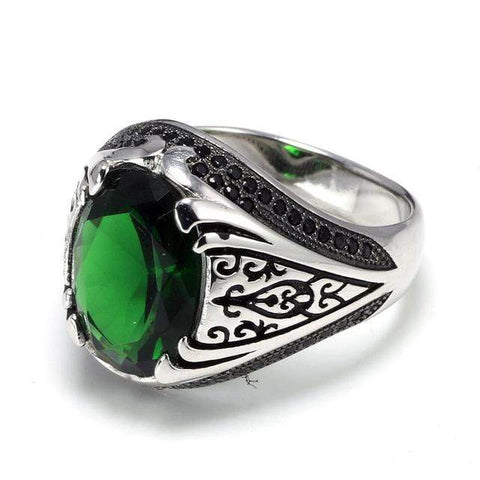 New 925 Silver Vintage Turkish Ring in Green color For Men & Women