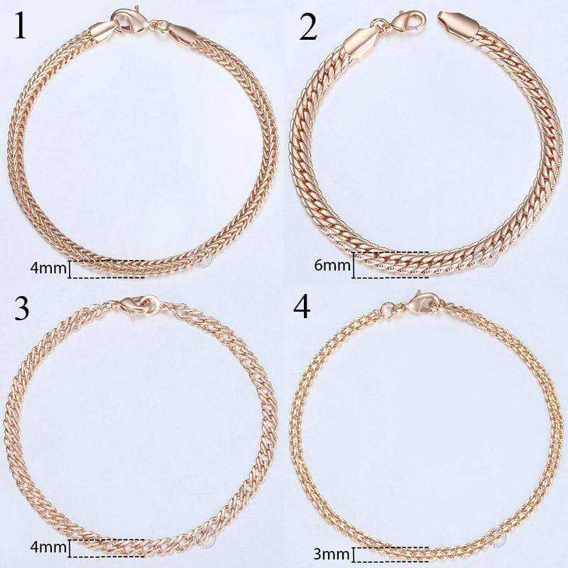 Almas Rose Gold 20cm Curb Snail Foxtail Venitian Link Chains Bracelet  for Men and Women from Almas Collections