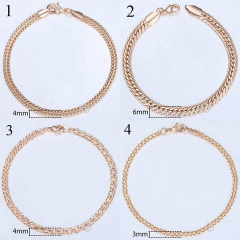 Image of Almas Rose Gold 20cm Curb Snail Foxtail Venitian Link Chains Bracelet  for Men and Women from Almas Collections