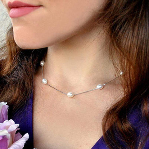 Image of New 925 Sterling Silver Necklace with Natural Freshwater Pearls from Almas Collections