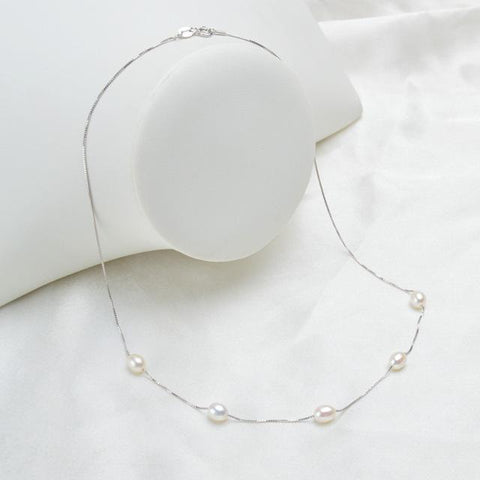 Image of New 925 Sterling Silver Necklace with Natural Freshwater Pearls white color from Almas Collections
