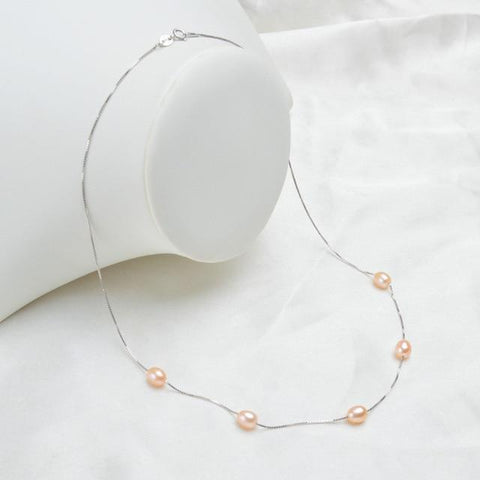 Image of New 925 Sterling Silver Necklace with Natural Freshwater Pearls NS2 Almas Collections  Necklace