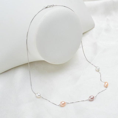 Image of New 925 Sterling Silver Necklace with Natural Freshwater Pearls mixed color from Almas Collections