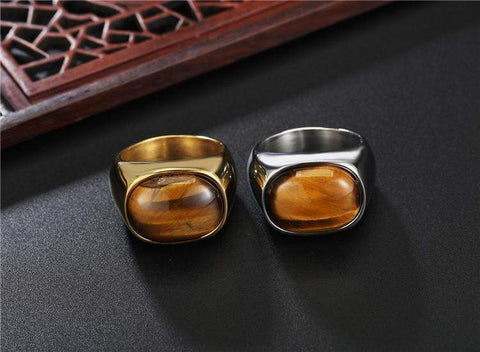 New Gold & Silver Vintage Tiger Eyes Brown Stone Ring IS1 IS2 Almas Collections  rings