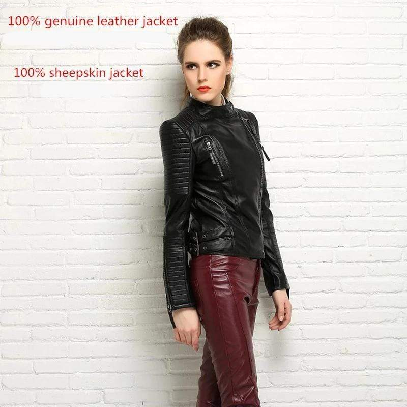 New Biker Genuine Short Slim Leather Jackets worn by model from Almas Collections