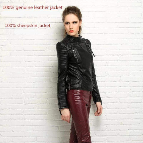 Image of New Biker Genuine Short Slim Leather Jackets worn by model from Almas Collections