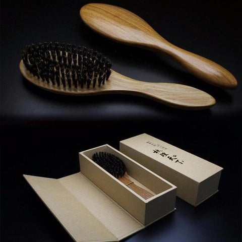 Image of Sandalwood and Wild Boar Bristles Hair Brush from Almas Collections