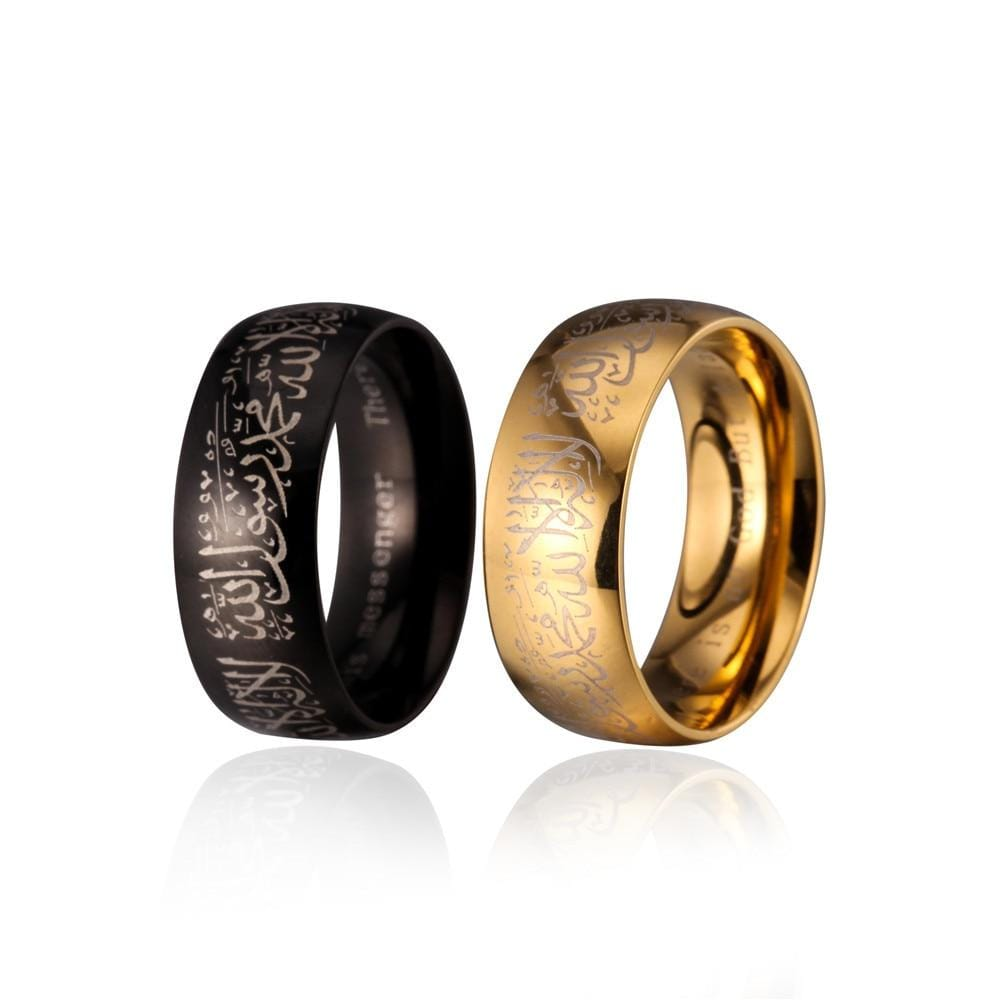 New Stainless Steel Allah Arabic Aqeeq Shahada Islamic Rings IS1 IS2 Almas Collections  Islamic ring
