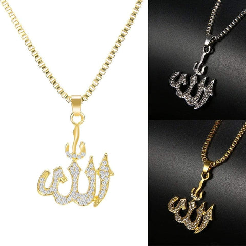 Crystal Allah Bling Long Chain Necklace in Gold and Silver color
